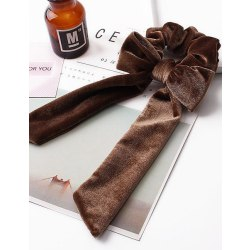 Hårsnodd Velvet Bow Scrunchie (brun) Brown