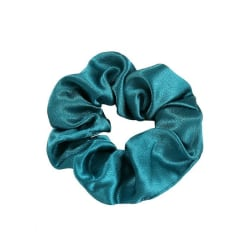 Stor Scrunchie i Satin (blågrön) Blå