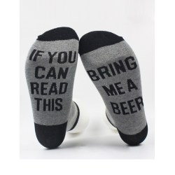Strumpor If You Can Read This Bring Me A Beer (onesize) grå