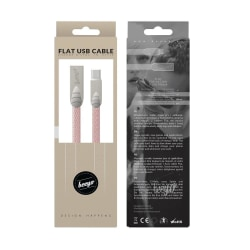 Beeyo 2-Amp Flat MicroUSB Kabel För Smartphones - Rosa Rosa