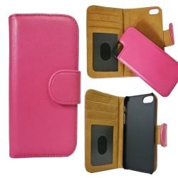 iPhone 5/5s/SE Eco-Läder Mobilplånbok avtagbar Bakstycket - Rosa Rosa