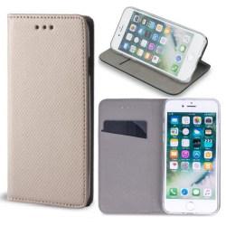 Motorola One Macro - Smart Magnet Fodral Mobilplånbok - Guld Guld