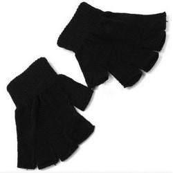1pair Knitted glove Fingerless Gloves Half Finger Warm Black