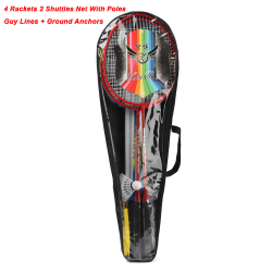 Badminton Set Tennis Rackets Shuttlecock Poles Net Bag