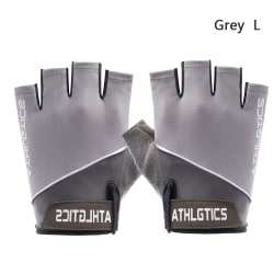 Cycling Gloves Anti Slip Mittens Half Finger GREY L grey L