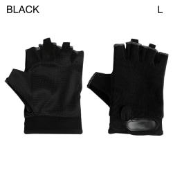 Sports Gloves Cycling Gloves Half Finger Mittens BLACK L black L