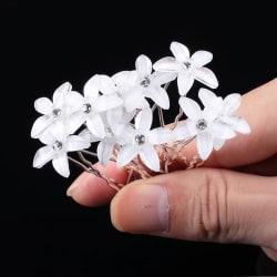 10 st Hårnålar Strass Bröllop Fest Vit blomma