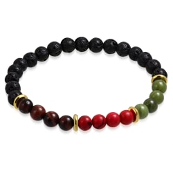 Armband, Chakra - yoga .Lava, tiger öga, röd, gröna stenar multifärg