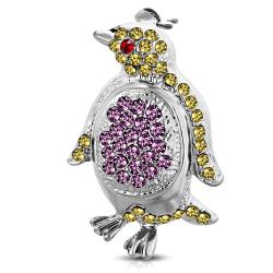 Brosch Pingvin med Cubic Zircon Silver