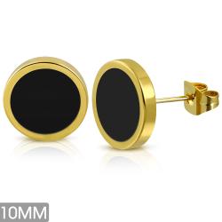 Cirkel Örhänge Guldfärgad Stål 316L/svart Dia 10 mm Svart