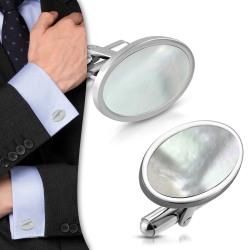 Ovala Manschettknappar i Rostfri Stål med Snäckskal Silver