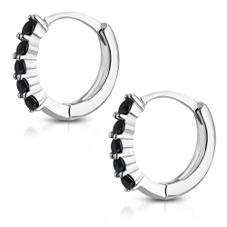 Paret Silverpläterade Örhängen Runda med svarta Cubic Zircon Silver