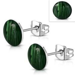 Stiftörhängen Cirkel med marnorerad knapp stål 316L Grön