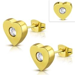 Stiftörhängen Hjärta 316L Kirurgiskt stål klar CZ Guld