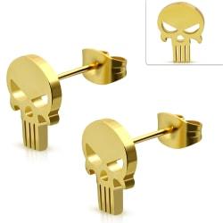 Stiftörhängen Kirurgisk Stål 316L Döskalle Guld