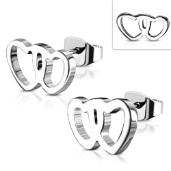 Stiftörhängen Kirurgisk Stål 316L Dubbelhjärtan Silver