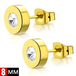 Stiftörhängen Stål 316L 8 mm Rund  Klar Cubic Zircon Guld