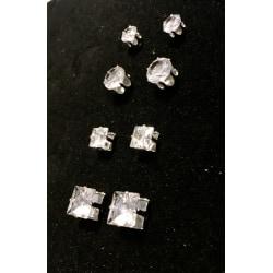 4 par Magnet örhängen med vita stenar  silver