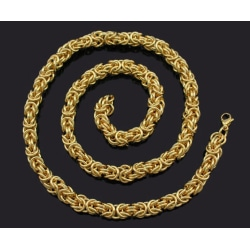 Guld Kejsarlänk halsband i rostfritt stål med 18k  guldplätering 8mm tjock, 55cm lång