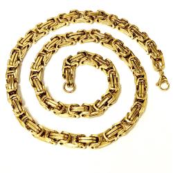 Guld Kejsarlänk i rostfritt stål med 18k guldplätering, 8mm 55cm lång