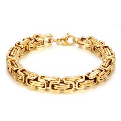 Kejsarlänk guld armband i rostfritt stål med 18k guldplätering 22cm