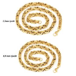 Kejsarlänk halsband guld i rostfritt stål med 18k  guldplätering 5,5mm tjockt, 60cm långt