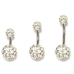 Navelpiercing med kristaller blingbollar, kort stav /lång stav 6mm