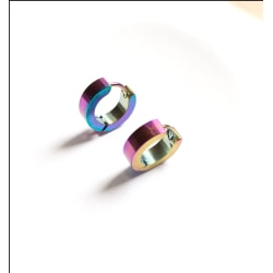 Ringar/creoler örhängen i kirurgiskt stål. (1 par)(Flerfärgad) flerfärgad
