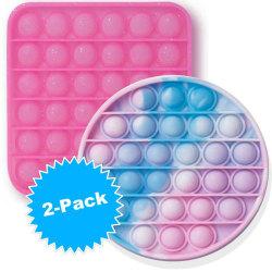 Pop It 2-Pack Tie-Dye & Glitter Push Poppers Fidget Toy