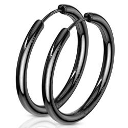 1 Par 25 mm Hoops örhängen i Svartfärgad  316L kirurgiskt stål