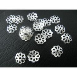 100 st. Nickelfria silverpläterade pärlhattar Ø 9 mm.