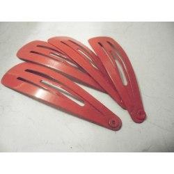 12 st.Röda click-clack hårspänne 4,7 cm långa och 1.3 breda