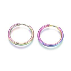 1Par 20 mm Hoops örhängen i Rainbowpläterad 316L kirurgiskt stål