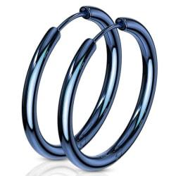 1Par 25 mm Hoops örhängen i IP blåpläterad 316L kirurgiskt stål
