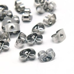 25 pack Pluppar/bakstycke till örhängen i AISI 304 stål