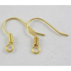 25 Par(50 st.) Nickelfria guldpläterade öronkrokar 15 mm.