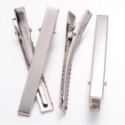 6 st Silverfärgade hårklämmor 7,7 cm. långa och 9 mm breda
