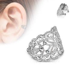 Fjärilformad filigran öron cuff med kloinfattade Vita CZ