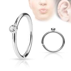 Piercing ring i  316L Kirurgiskt stål med  vit cubik zirkon