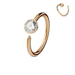 Piercing ring i Härdad 316L kirurgiskt stål med cubik zirkon