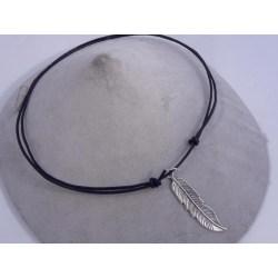 Handgjord Ställbar läder halsband med stor fjäder hänge Svart