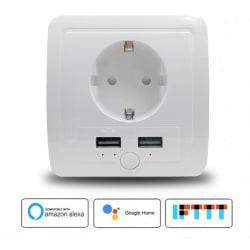 Vägguttag med wifi och 2 usb portar stödjer Google, Alexa m.fl