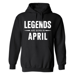 Legends Are Born In April - Hoodie / Tröja - HERR Svart - S