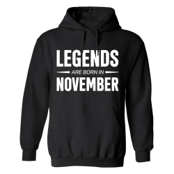 Legends Are Born In November - Hoodie / Tröja - HERR Svart - 5XL