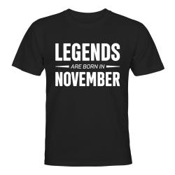 Legends Are Born In November - T-SHIRT - HERR Svart - XL