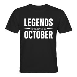 Legends Are Born In October - T-SHIRT - HERR Svart - XL