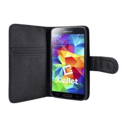 Samsung Galaxy S5 Fodral/Plånbok i Läder (SVART) svart