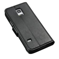 Galaxy S5 Mini Fodral/Plånbok i Läder (SVART) svart