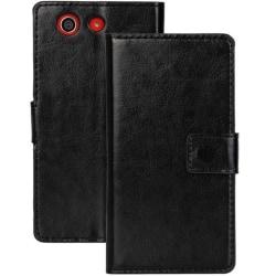 Sony Xperia Z3 Compact Fodral/Plånbok i Läder (SVART) svart