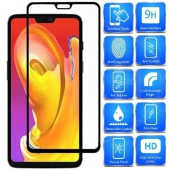 2-PACK OnePlus 6 FullFrame® 0.26mm 2.5D 9H Härdat Glas Svart